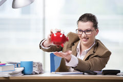 The businesswoman working in the office Stock Image