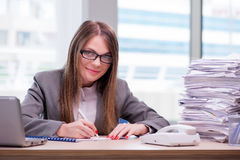 The businesswoman working in the office Stock Photo