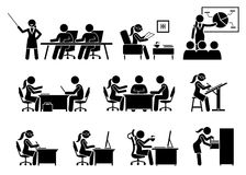 Businesswoman Working in an Office. Artworks depict business woman works by doing presentation, reading, making business proposal, discussion, writing, and Stock Photo