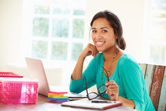 Businesswoman Working In Office At Home Stock Photography