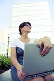 Businesswoman working outdoor Stock Photography
