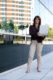 Businesswoman working outdoor Royalty Free Stock Image