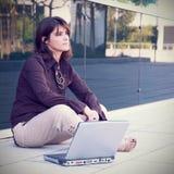 Businesswoman working outdoor Stock Images