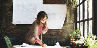Businesswoman Working Planning Sketch Concept Royalty Free Stock Image