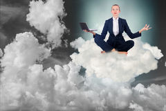 The businesswoman working in the sky and meditating. Businesswoman working in the sky and meditating Stock Photography