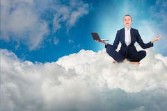The businesswoman working in the sky and meditating Royalty Free Stock Photos