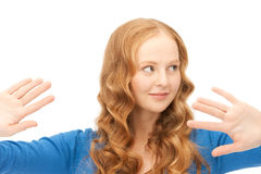 Businesswoman working with something imaginary Stock Photo