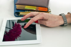 Businesswoman working with a tablet stock photo