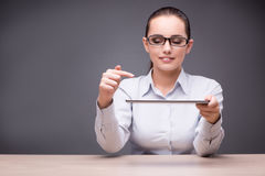 The businesswoman working on tablet computer Royalty Free Stock Photography