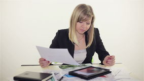Businesswoman working on tablet computer in office. Full HD stock footage