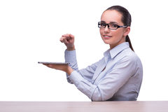 The businesswoman working tablet computer on white background Stock Photography