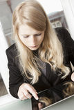 Businesswoman working with tablet PC Royalty Free Stock Photo