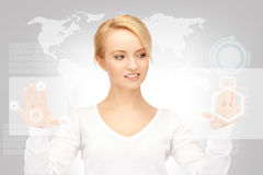 Businesswoman working with touch screen Stock Photo