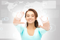 Businesswoman working with touch screen Royalty Free Stock Photos