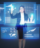 Businesswoman working with touch screen Stock Photos