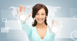 Businesswoman working with touch screen Stock Image