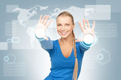 Businesswoman working with touch screen Royalty Free Stock Photo