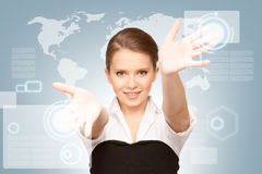 Businesswoman working with touch screen Stock Images