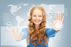 Businesswoman working with touch screen Royalty Free Stock Images