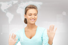 Businesswoman working with touch screen Royalty Free Stock Image