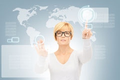 Businesswoman working with touch screen Stock Photography