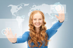 Businesswoman working with touch screen Royalty Free Stock Photography