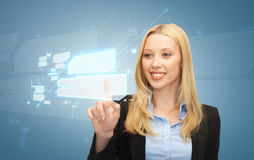 Businesswoman working with virtual screens Stock Photos