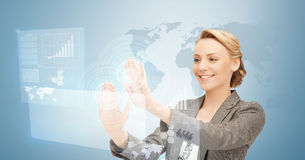 Businesswoman working with virtual screens Royalty Free Stock Images