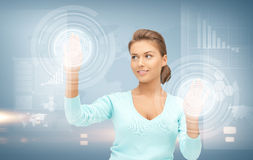 Businesswoman working with virtual screens Royalty Free Stock Photography