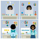 Businesswoman at workplace. African american businesswoman at workplace with questions, idea and solution. Multitasking businesswoman. Finding a solution Stock Photo