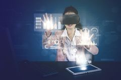 Businesswoman works with virtual reality glasses royalty free stock photos