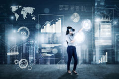 Businesswoman works with VR glasses Royalty Free Stock Image