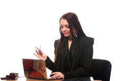Businesswoman on the workspace Stock Images