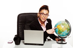 Businesswoman with a world globe Stock Photos