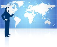 Businesswoman with world map Stock Photos