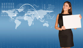 Businesswoman with world map and graphs Stock Image