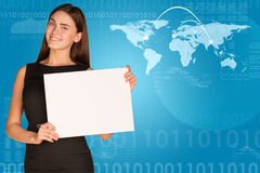 Businesswoman with world map, lines and figures. Businesswoman hold paper sheet. World map with lines and figures as backdrop Stock Photography