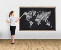 Businesswoman and  world map Stock Image