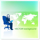 Businesswoman with World Map on Vector Background Royalty Free Stock Photos