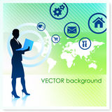 Businesswoman with World Map on Vector Background Stock Photos