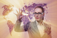 The businesswoman in world transportation concept Stock Images