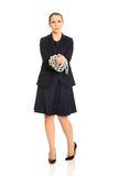 Businesswoman wrapped with metal chain. Royalty Free Stock Image