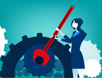 Businesswoman with wrench and cogs. Concept business illustration. Vector flat Royalty Free Stock Photos