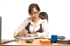 Businesswoman write a note Stock Photo