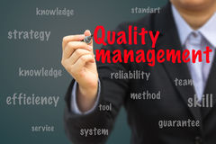 Businesswoman write Quality management relation concept Royalty Free Stock Photography