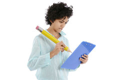 Businesswoman writing with big pencil Stock Image