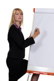 Businesswoman writing on a board Royalty Free Stock Images