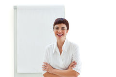Businesswoman with a writing boards Royalty Free Stock Images