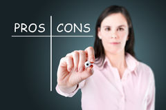 Businesswoman writing comparison concept. Royalty Free Stock Images