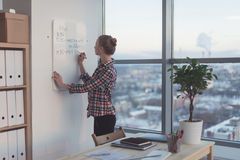 Businesswoman writing day plan on white magnet board, modern office. Side view of caucasian female employee planning Stock Image
